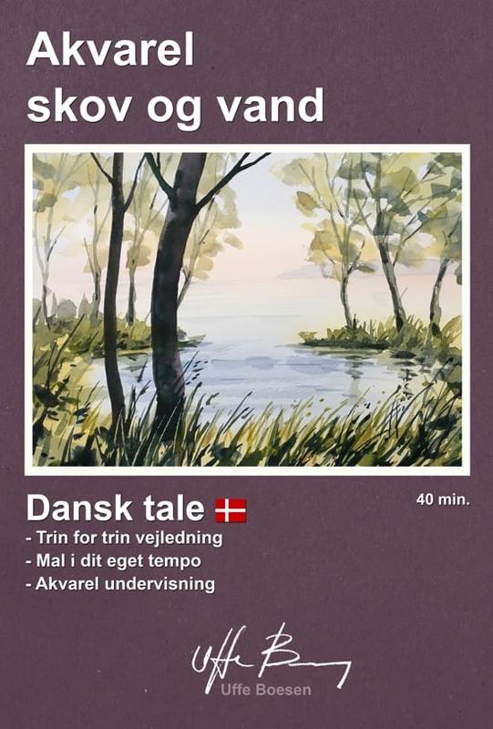 Akvarel skov og vand