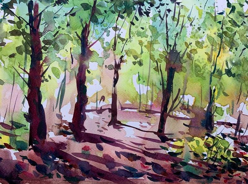 Akvarelmaling natur skov