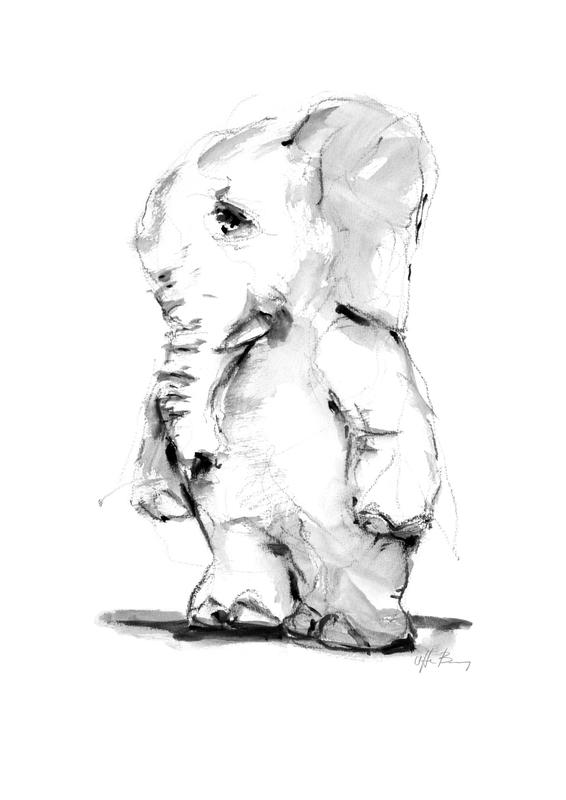 Elefant print af Uffe Boesen