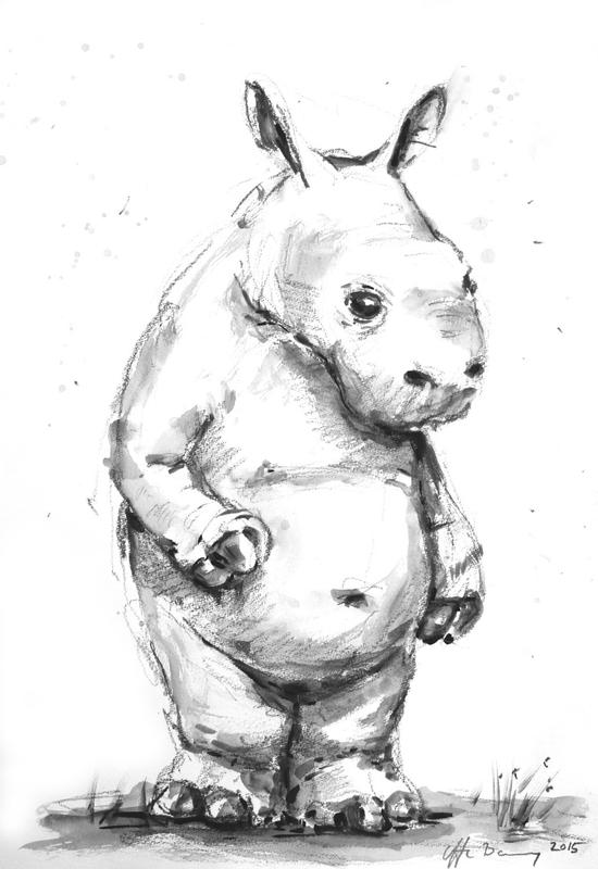 Næsehorn print af Uffe Boesen