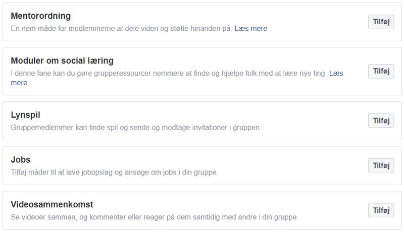 Facebookgruppe indstillinger